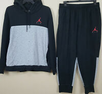 NIKE AIR JORDAN CEMENT FLEECE SWEATSUIT HOODIE + PANTS BLACK RED RARE (SIZE 2XL)