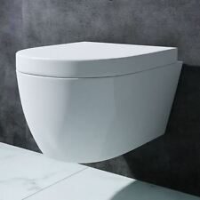 Luxury WC Wall Hung White Gloss Ceramic Close Seat Toilet Pan Durovin Bathrooms