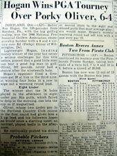 <5 1946 newspapers BEN HOGAN WINS MAJOR PGA GOLF CHAMPIONSHIP @ Portland Oregon