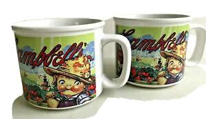 Lot: 2 Campbells Soup Mugs 12 oz Kids Straw Hats Fresh Tomatoes on Farm 1998 Vtg