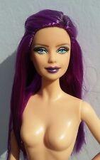 FLASH SALE OOAK Purple Repaint Reroot Model Barbie Custom Long Hair Doll Goth