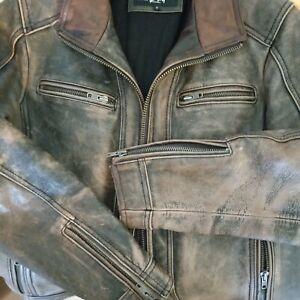 Black Rivet Distressed Brown Genuine Leather Jacket Motorcycle Cafe Racer Mens S