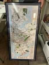 Route Map Of New York City Transit System Hand Drawn Rare Subway Original