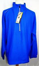 New Men's Sun Mountain Royal Blue Brushed Solo 1/2 Zip Long Sleeve Windshirt XL