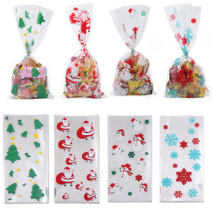 Favor Gift Cellophane Christmas Candy Bags Cookies Storage Baking Packaging