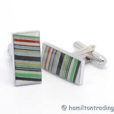 CL1 Cuff-links Multi Color Stripe Men's Women's Jewelry