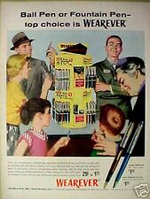 1956 Wearever Ball Point~Fountain Pens~Mechanical Pencil Display Trade Art Ad