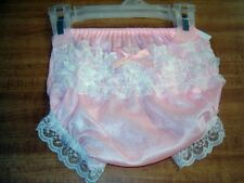 "0/6 Months ""Boutique"" Pink Rhumba Lace Rear Diaper Cover Panty Bloomers NWT!"