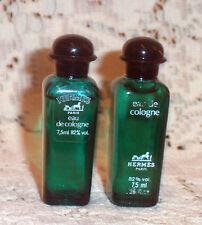 Vtg Hermes Eau de Cologne for Men 2 x 1/4oz Mini One Unused & One Slightly Used
