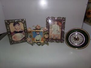 Lot of 3 picture frames + table clock enamel
