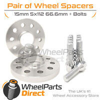 Wheel Spacers (2) & Bolts 15mm for Audi A4 [B9] 15-20 On Aftermarket Wheels