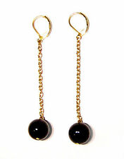 Black Agate bead gold plated dangle earrings EAR230001
