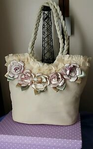 Designer Bag - satin hand stitched flowers NEW Beautiful USA new w tags