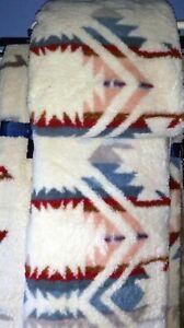 "Pendleton NEW Throw Blanket Sherpa Fleece   Aztec 70""x50"" Reversible"