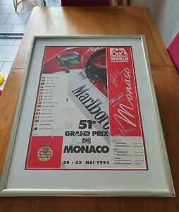 F 1 Monaco 1993 Poster Signed By 7 Drivers Including Ayrton Senna & Micheal...