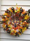 Candy Corn Halloween/Fall Wreath, Deco Mesh,Orange-Yellow-White, Handmade