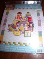 """Tobin Baby JACK IN THE BOX Stamped Cross Stitch Baby Quilt Kit  34"""" x 43"""""""