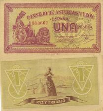 GUERRA CIVIL ESPAÑOLA 1 Peseta Consejo de Asturias y León. Sin serie. Nº 313667.
