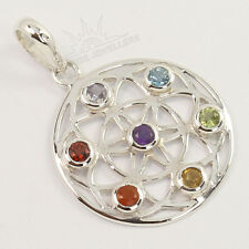 Healing Chakra Pendant Natural MULTI Gemstones 925 Solid Sterling Silver Jewelry