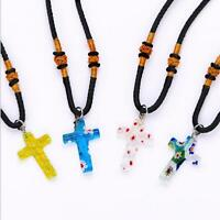 Ethnic Glass Flower Cross Pendant Necklace Women Rope Choker Necklaces Jewelry
