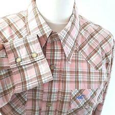 Mens Medium Hollister Checked Plaid Western Shirt Pearl Snap poppers
