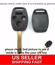 2 Uncut Blade Replacement Keyless Remote Shell Case Key FOB for Honda 3+1 Button