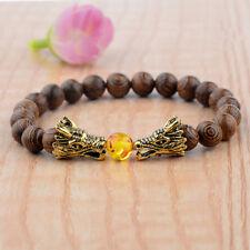 Charm 8MM Multilayer Wooden Beads Dragon Head Men's Elastic Bangle Bracelets