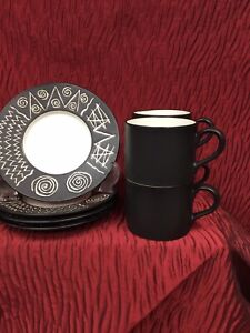 Set Of 4 Cups And Saucers By Habitat Scraffito Pattern In Black And White