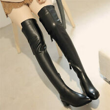 Women Stretchy Thigh Boots Over the Knee Pointed Toe Low Heel Oxfords Slim Leg
