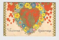 ANTIQUE POSTCARD VALENTINE VICTORIAN SILHOUETTES HEARTS FLOWERS GOLD EMBELLISHME