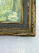 Art Deco wood picture frame and print. English cottage. Excellent condition