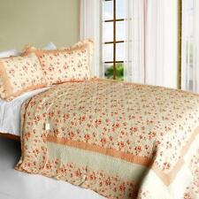 3 Pc Les Coristes peach orange beige floral country 100%Cotton Queen Quilt Shams