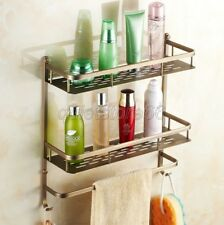 Antique Brass Bathroom Wall Mounted Dual Tier Shower Storage Basket qba527