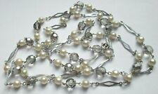 Superbe Grand Collier sautoir couleur argent perles nacrées bijou vintage 340