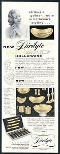 1956 Dirilyte Motif gold Holloware bowl salt pepper shakers pix vintage print ad