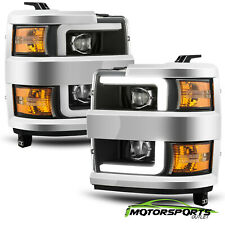 For 2015-2019 Silverado 2500/3500 Black Dual Projector Headlights+LED DRL+Signal