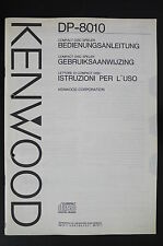 Kenwood dp-8010 ORIGINAL Reproductor de CD INSTRUCCIONES DE EMPLEO/OPERATING