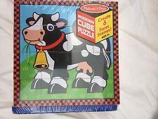 Melissa Doug Farm Cube Wooden Puzzle with Six Farm Animal Scenes Wooden Frame