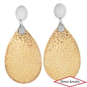 John Hardy Diamond Classic Hammered Large Drop Gold Earrings 18.6 G NR