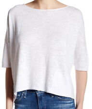 Eileen Fisher White Ballet Neck Boxy Crop Top Sweater Size Large