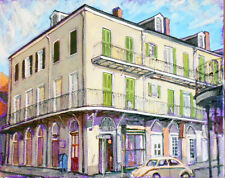 """TIM LAUER, ART, Chartres & Dumaine, New Orleans French Quarter, oil & acry, 16"""""""