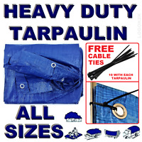 ALL Sizes Of Heavy Duty Tarpaulin Cover Ground Camping TARP Sheet + CABLE TIES