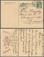 Switzerland 1912-Postal stationary on postcard to Romont. Publicity (DD) MV-3764