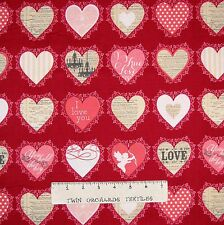 Valentine's Day Fabric - Lost & Found Love Hearts on Red - Riley Blake YARD