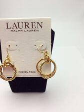 $34 Lauren Ralph Lauren Gold Tone Twisted Hoop Drop Earrings #3