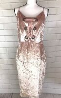 Project Runway Velvet MIDI Dress Large Ribbon Front Pink Side Zip Stretchy NWT