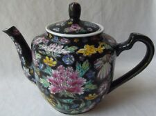 "BEAUTIFUL VINTAGE CHINESE HAND PAINTED PORCELAIN FLORAL TEAPOT 9"" L"
