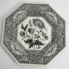 Black Spode FLORAL octagonal luncheon plate Archive Sutherland Collection 9.5""