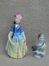ANTIQUE CONTINENTAL GERMAN? PORCELAIN FIGURINE & HALF FIGURE OF LADY ART DECO P