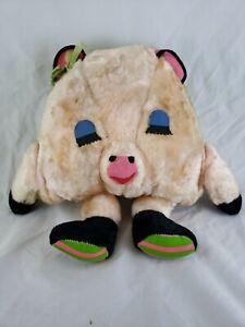 "Vintage 1960-70s 14"" Large Plush Sleeping Pig Carnival Toy Pillow Stuffed Animal"